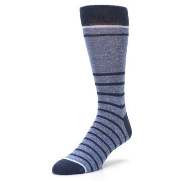 Image of Blue Navy Heathered Stripe Men's Dress Socks (side-2-front-08)