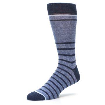 Image of Blue Navy Heathered Stripe Men's Dress Socks (side-2-09)