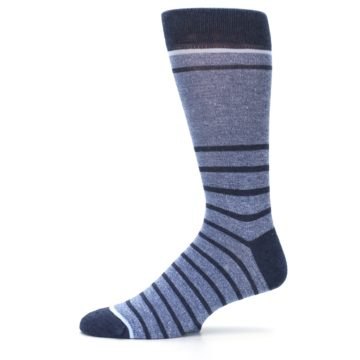 Image of Blue Navy Heathered Stripe Men's Dress Socks (side-2-11)