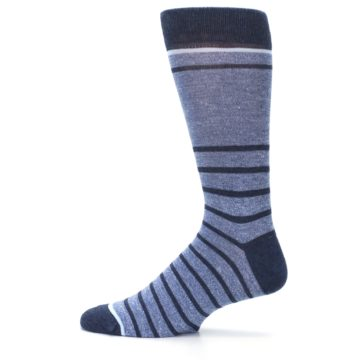 Image of Blue Navy Heathered Stripe Men's Dress Socks (side-2-12)
