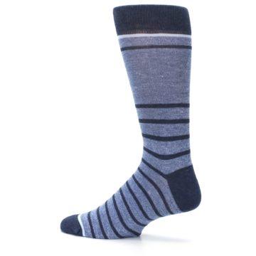 Image of Blue Navy Heathered Stripe Men's Dress Socks (side-2-13)