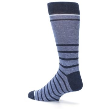 Image of Blue Navy Heathered Stripe Men's Dress Socks (side-2-back-14)