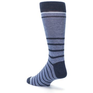 Image of Blue Navy Heathered Stripe Men's Dress Socks (side-2-back-15)