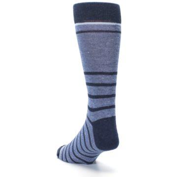 Image of Blue Navy Heathered Stripe Men's Dress Socks (side-2-back-16)