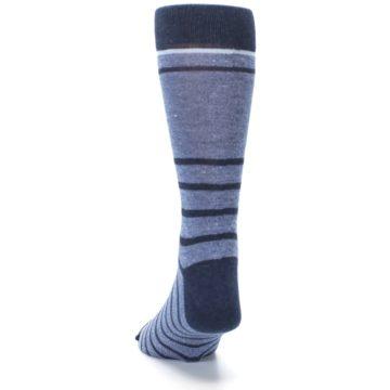 Image of Blue Navy Heathered Stripe Men's Dress Socks (back-17)