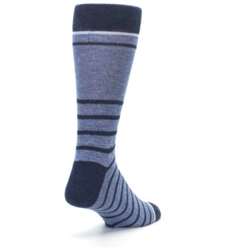 Image of Blue Navy Heathered Stripe Men's Dress Socks (side-1-back-21)