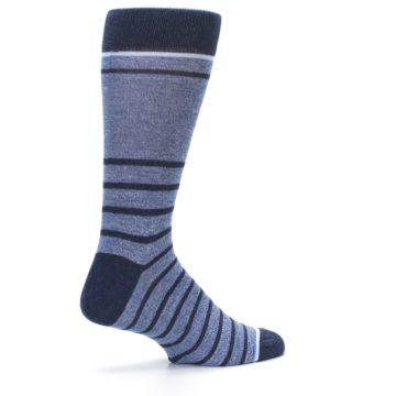 Image of Blue Navy Heathered Stripe Men's Dress Socks (side-1-23)