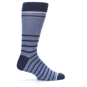 Image of Blue Navy Heathered Stripe Men's Dress Socks (side-1-24)