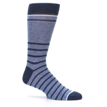 Image of Blue Navy Heathered Stripe Men's Dress Socks (side-1-25)