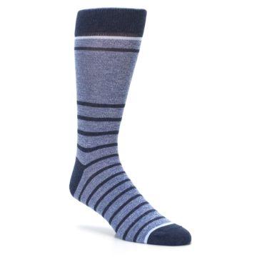 Image of Blue Navy Heathered Stripe Men's Dress Socks (side-1-27)