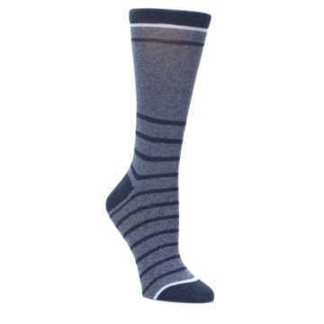 Blue-Navy-Heathered-Stripe-Womens-Dress-Socks-Statement-Sockwear