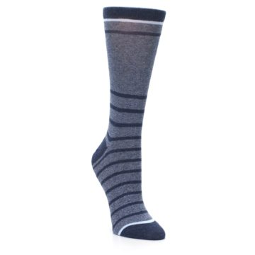 Image of Blue Navy Heathered Stripe Women's Dress Sock (side-1-front-02)