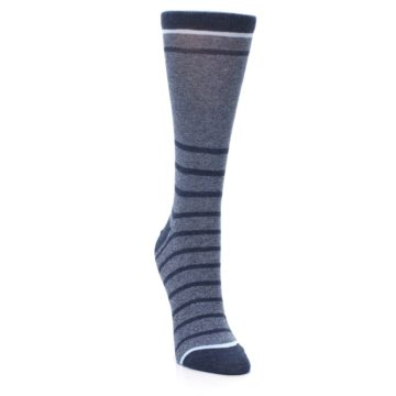 Image of Blue Navy Heathered Stripe Women's Dress Sock (side-1-front-03)