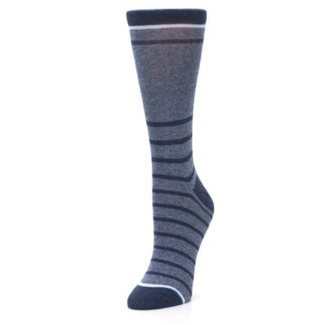 Image of Blue Navy Heathered Stripe Women's Dress Sock (side-2-front-08)