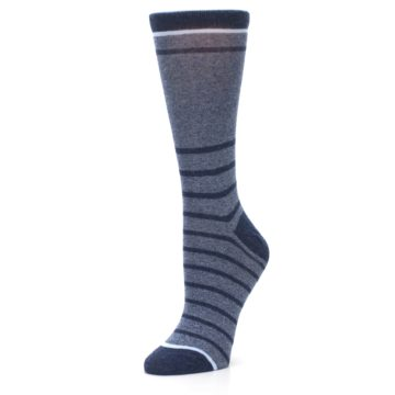 Image of Blue Navy Heathered Stripe Women's Dress Sock (side-2-09)