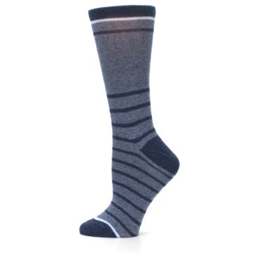 Image of Blue Navy Heathered Stripe Women's Dress Sock (side-2-12)