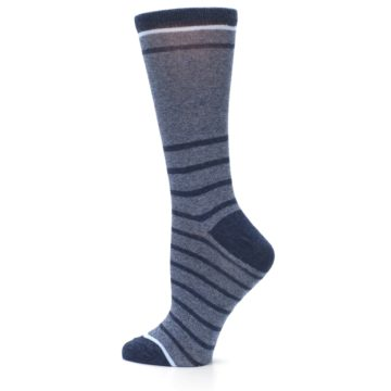 Image of Blue Navy Heathered Stripe Women's Dress Sock (side-2-13)