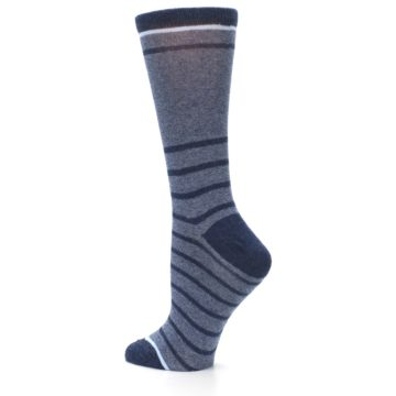Image of Blue Navy Heathered Stripe Women's Dress Sock (side-2-back-14)