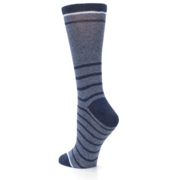 Image of Blue Navy Heathered Stripe Women's Dress Sock (side-2-back-15)