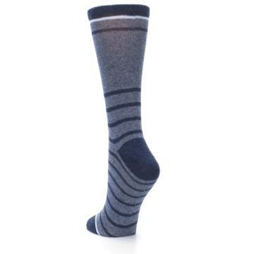 Image of Blue Navy Heathered Stripe Women's Dress Sock (side-2-back-16)