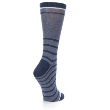 Image of Blue Navy Heathered Stripe Women's Dress Sock (side-1-back-22)