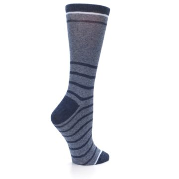 Image of Blue Navy Heathered Stripe Women's Dress Sock (side-1-23)