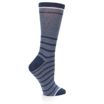 Image of Blue Navy Heathered Stripe Women's Dress Sock (side-1-24)