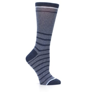 Image of Blue Navy Heathered Stripe Women's Dress Sock (side-1-25)
