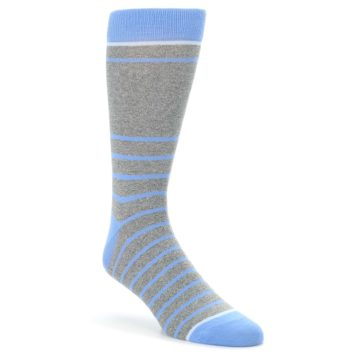 Image of Gray Blue Heathered Stripe Men's Dress Socks (side-1-front-01)