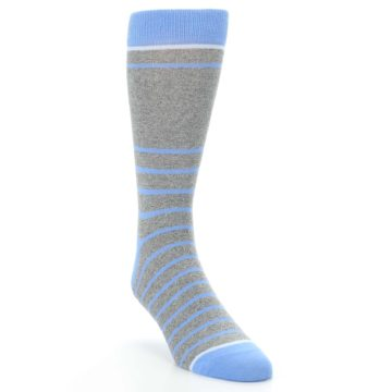 Image of Gray Blue Heathered Stripe Men's Dress Socks (side-1-front-02)