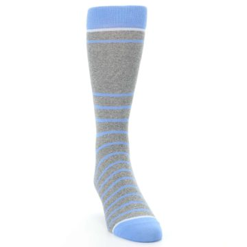 Image of Gray Blue Heathered Stripe Men's Dress Socks (side-1-front-03)