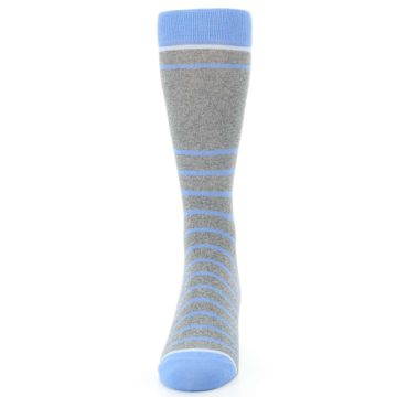 Image of Gray Blue Heathered Stripe Men's Dress Socks (front-05)