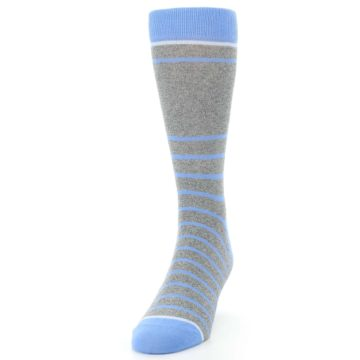 Image of Gray Blue Heathered Stripe Men's Dress Socks (side-2-front-06)