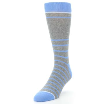 Image of Gray Blue Heathered Stripe Men's Dress Socks (side-2-front-07)