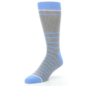 Image of Gray Blue Heathered Stripe Men's Dress Socks (side-2-front-08)
