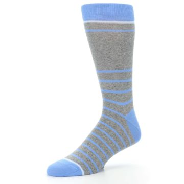 Image of Gray Blue Heathered Stripe Men's Dress Socks (side-2-09)