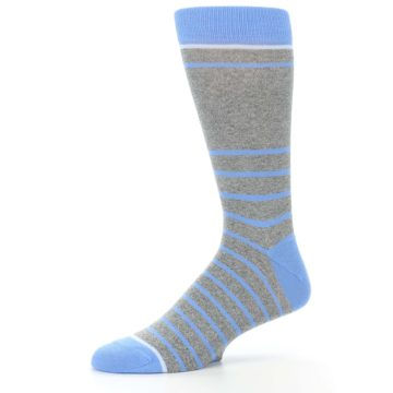 Image of Gray Blue Heathered Stripe Men's Dress Socks (side-2-10)
