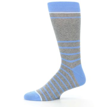 Image of Gray Blue Heathered Stripe Men's Dress Socks (side-2-11)