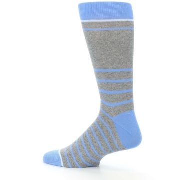 Image of Gray Blue Heathered Stripe Men's Dress Socks (side-2-13)