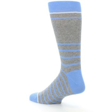 Image of Gray Blue Heathered Stripe Men's Dress Socks (side-2-back-14)
