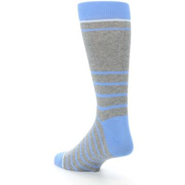 Image of Gray Blue Heathered Stripe Men's Dress Socks (side-2-back-15)
