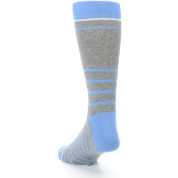 Image of Gray Blue Heathered Stripe Men's Dress Socks (side-2-back-16)
