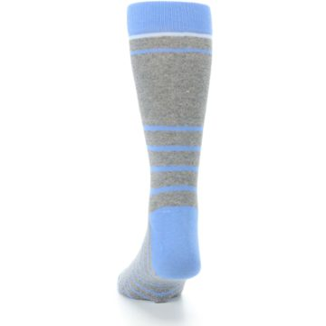 Image of Gray Blue Heathered Stripe Men's Dress Socks (back-17)