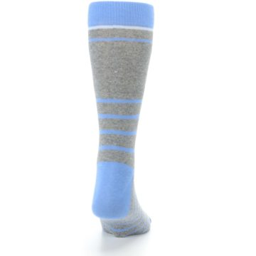 Image of Gray Blue Heathered Stripe Men's Dress Socks (back-19)