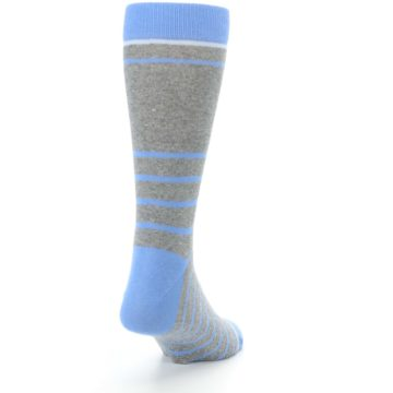Image of Gray Blue Heathered Stripe Men's Dress Socks (side-1-back-20)