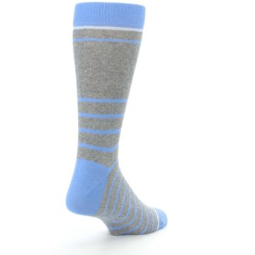 Image of Gray Blue Heathered Stripe Men's Dress Socks (side-1-back-21)