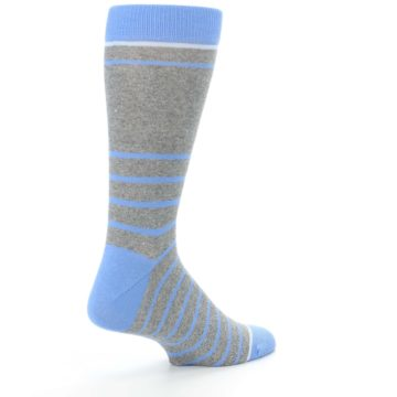 Image of Gray Blue Heathered Stripe Men's Dress Socks (side-1-back-22)
