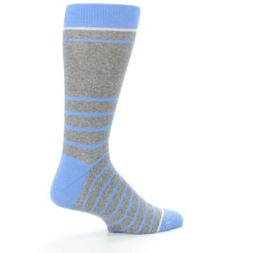 Image of Gray Blue Heathered Stripe Men's Dress Socks (side-1-23)