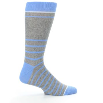 Image of Gray Blue Heathered Stripe Men's Dress Socks (side-1-24)