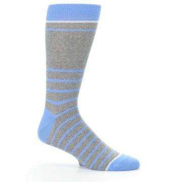 Image of Gray Blue Heathered Stripe Men's Dress Socks (side-1-25)